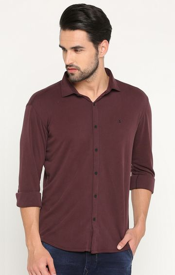 Showoff | Maroon Solid Casual Shirt