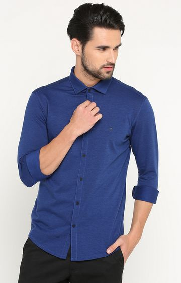 Showoff | Blue Melange Casual Shirt