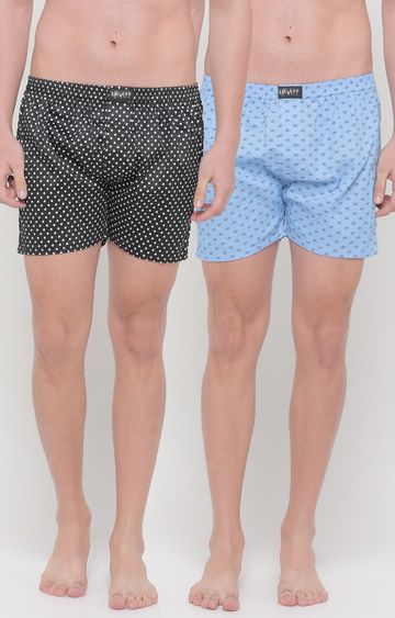 Showoff | Blue and Black Printed Boxers - Pack of 2