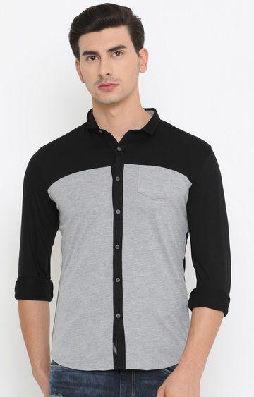 Showoff   Black and Grey Colourblock Casual Shirt