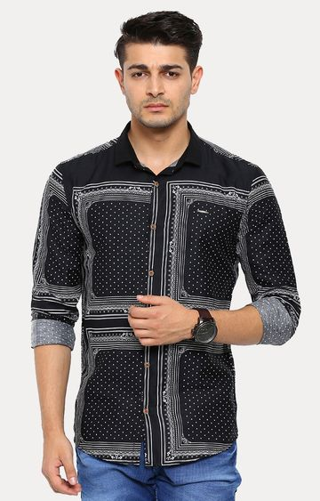 Showoff | Black Patterned Casual Shirt