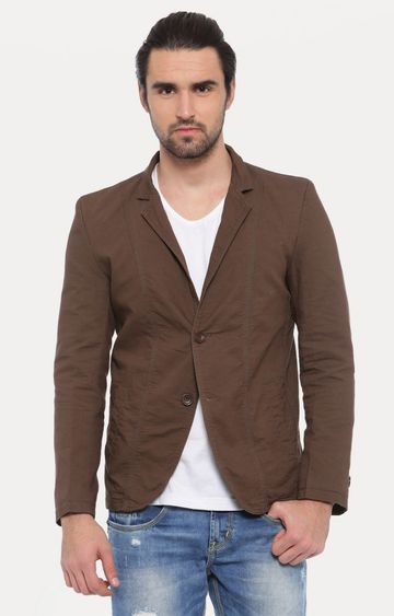 Showoff | Brown Solid Blazer