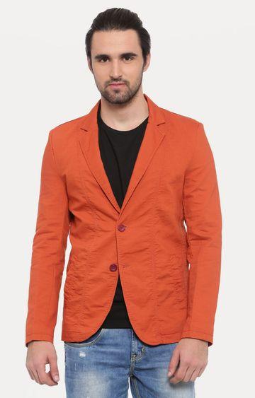 Showoff | Orange Solid Blazer