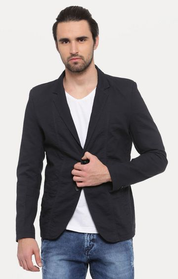 Showoff | Navy Blue Solid Blazer