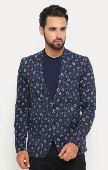 Showoff | Navy Blue Printed Blazer