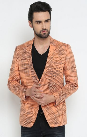 Showoff | Orange Printed Blazer