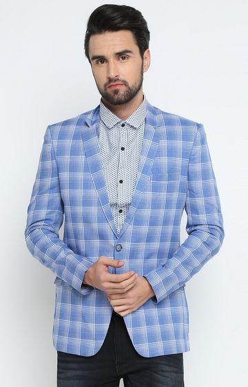 Showoff | Blue Checked Blazer