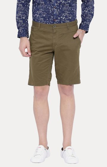 Showoff   Brown Solid Shorts
