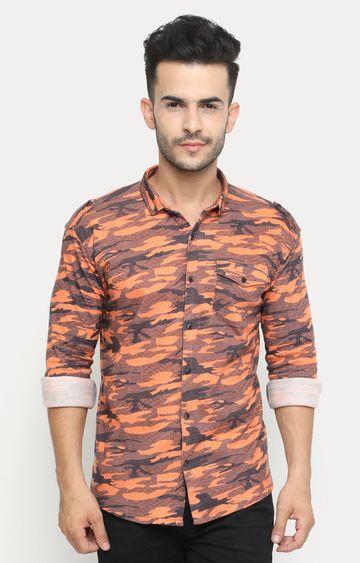 Showoff   Orange Printed Casual Shirt