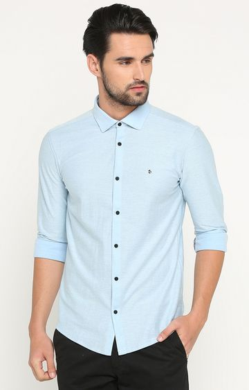 Showoff | Light Blue Melange Casual Shirt
