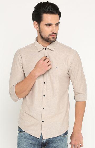 Showoff   Beige Melange Casual Shirt