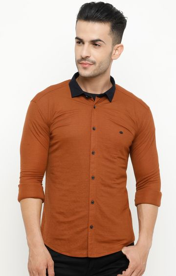 Showoff | Tan Solid Casual Shirt