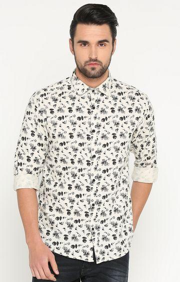 Showoff | Cream Printed Casual Shirt