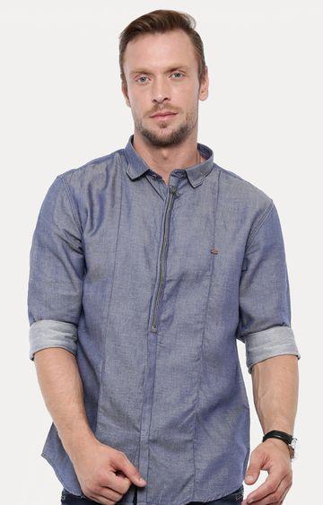 Showoff | Blue Melange Casual Shirt