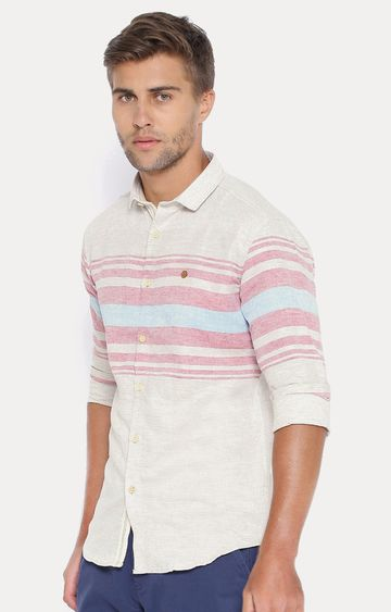 Showoff | Off White Striped Casual Shirt