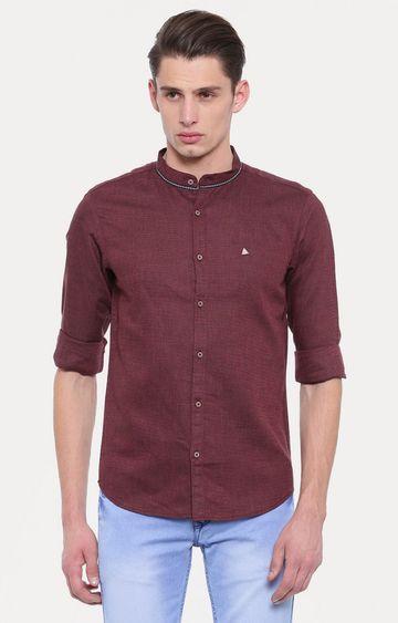 Showoff | Maroon Solid Casual Shirt