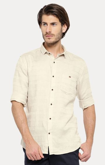Showoff | Beige Striped Casual Shirt