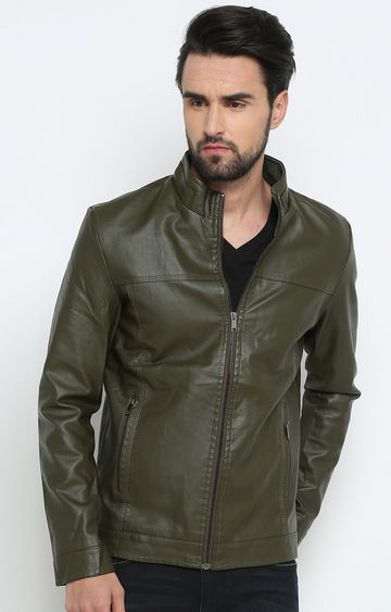 Showoff | Green Solid Leather Jacket