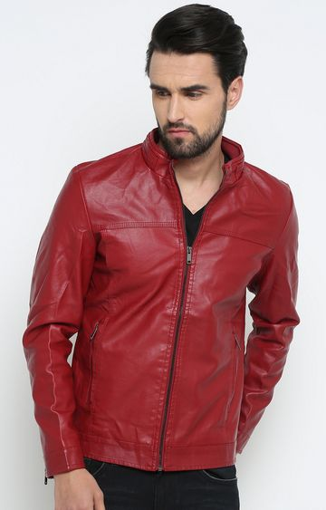 Showoff | Red Solid Leather Jacket