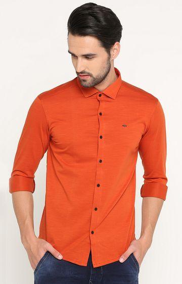 Showoff | Orange Melange Casual Shirt