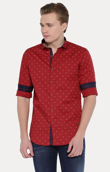 With | Red Patterned Casual Shirt