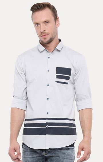 With | Grey Striped Casual Shirt