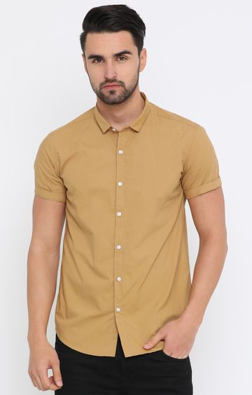 With | Light Khaki Solid Casual Shirt