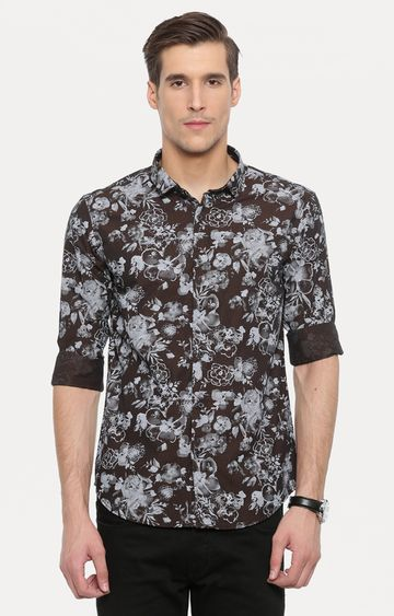 With | Brown and Grey Printed Casual Shirt
