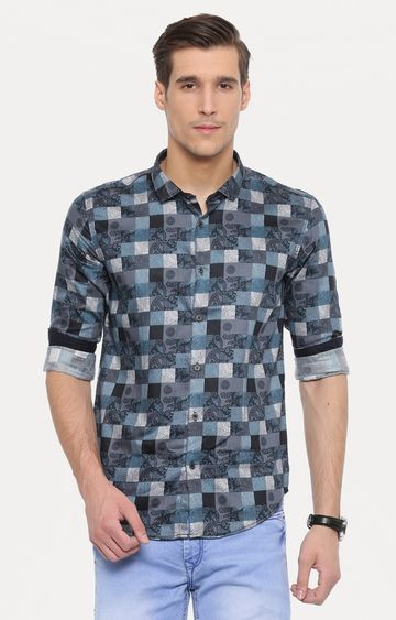With | Black and Blue Printed Casual Shirt