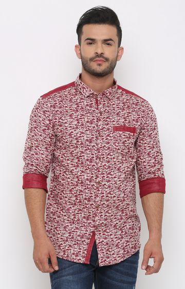 With | Red Printed Casual Shirt
