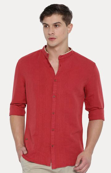 With | Red Solid Casual Shirt