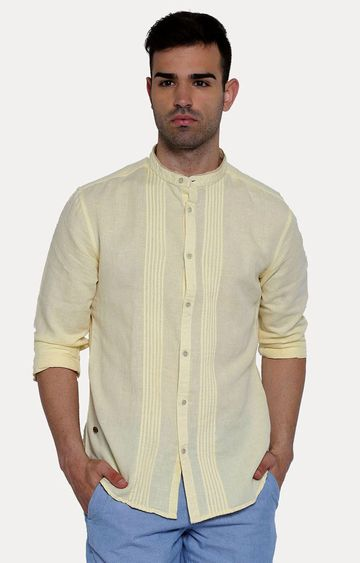 With | Yellow Solid Casual Shirt