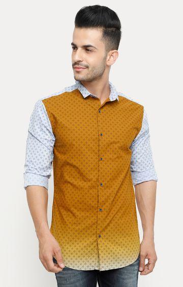 With | Tan Printed Casual Shirt