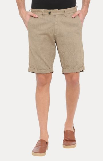 With | Brown Solid Shorts