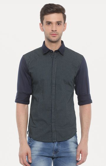With | Black and Green Printed Casual Shirt
