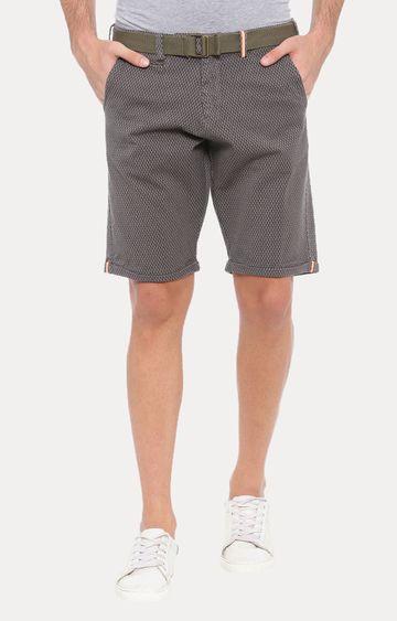 With | Grey Printed Shorts
