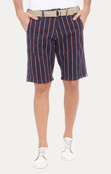 With   Maroon and Navy Striped Shorts
