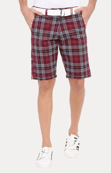 With | Maroon Checked Shorts