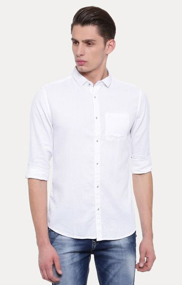 With   White Solid Casual Shirt