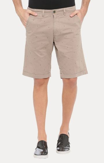 With | Beige Printed Shorts