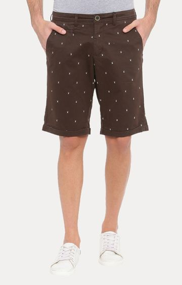 With | Brown Printed Shorts