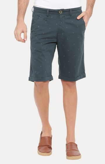 With | Green Solid Shorts