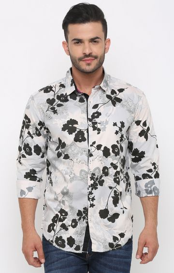 With | Grey and Black Printed Casual Shirt