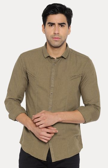 With | Khaki Solid Casual Shirt