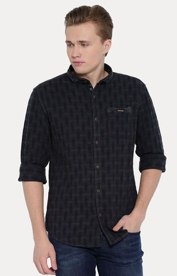 With | Dark Green Patterned Casual Shirt