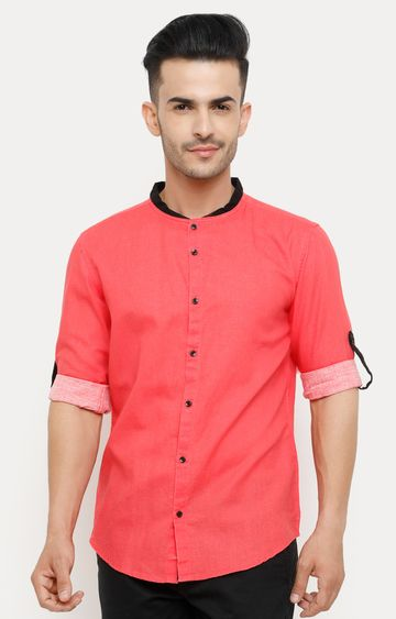 With | Coral Solid Casual Shirt
