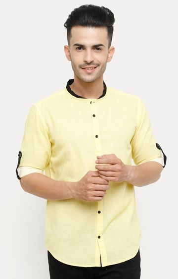 With   Yellow Solid Casual Shirt