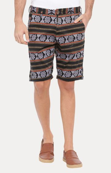 With | Black Printed Shorts