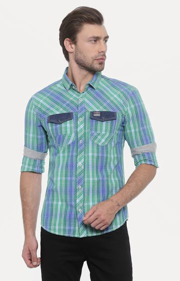 With | Green Striped Casual Shirt