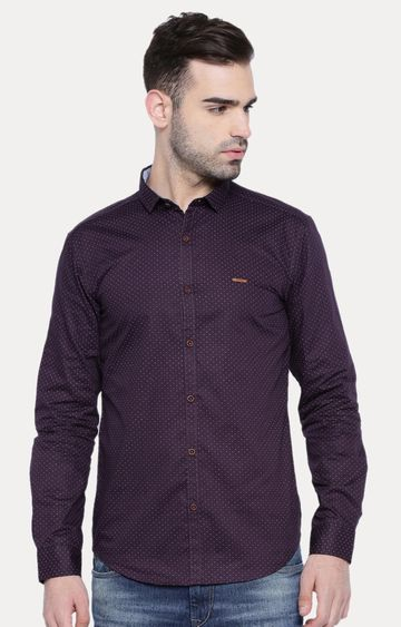 With   Purple Patterned Casual Shirt